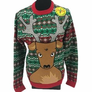 Blizzard Bay Reindeer Drink Hold Christmas Sweater